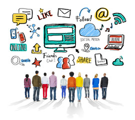 Multiethnic People Rear View Togetherness Social Media Concept