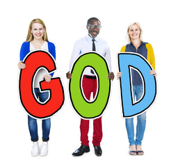 Group People Holding Word God Believe Concept