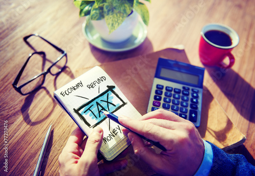 Leinwanddruck Bild Businessman Tax Economy Refund Money Concept