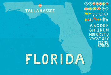 Map of Florida with icons