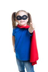 kid girl weared superhero costume