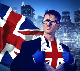 Superhero Businessman UK Cityscape Concept