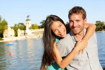 Romantic couple portrait embracing in love