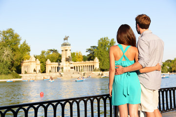 Romantic couple in love in El Retiro park Madrid