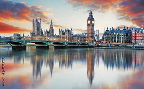 Fotobehang Oude gebouw London - Big ben and houses of parliament, UK