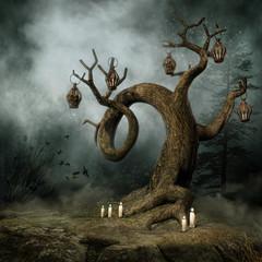 Drzewo z lampionami i świecami we mgle