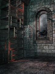 Pokój w zamkowej wieży z klatkami i krukiem