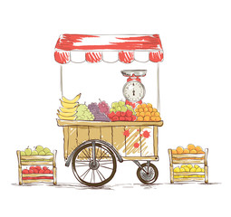 Fruit Shop on wheels. Vector illustration.