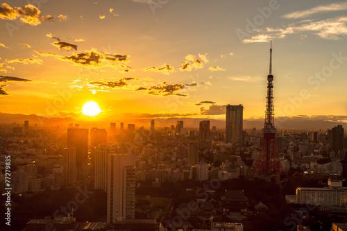 Poster Tokyo 東京タワー 夕景