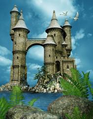 Wieże baśniowego zamku nad jeziorem