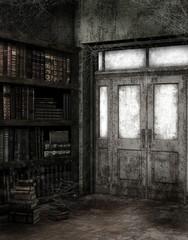 Opuszczona biblioteka z pajęczynami