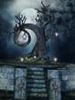 Drzewo na wzgórzu z lampami i czaszkami nocą