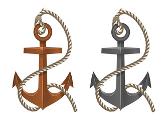 Old two anchor with rope on white background