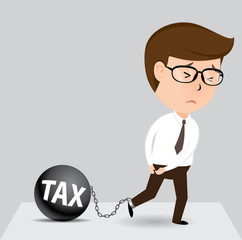 Businessman and tax, Vector illustration