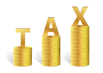 Word TAX on Gold Coin Isolated, Vector illustration