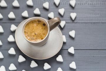 Valentine cup coffee boards sugar cubes