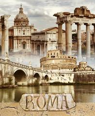 Ancient Rome - conceptual collage in retro style