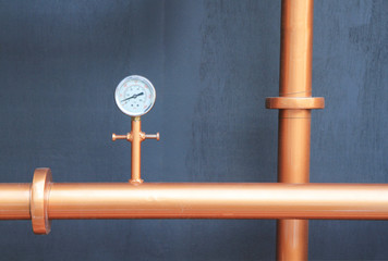 Pressure gauge meter installed on copper pipes
