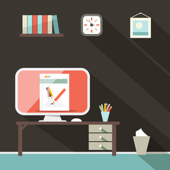 Flat Design Retro Office Room Illustration