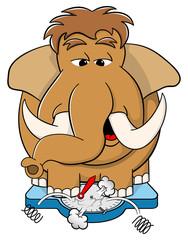 übergewichtiges Mammut auf der Waage