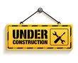 Under Construction Sign in White Background. 3D Mesh