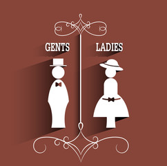 toilet sign.lady and gentleman sign with long shadow.vector