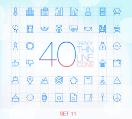 40 Trendy Thin Icons for web and mobile Set 11