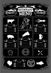 template for menu on black background and icons