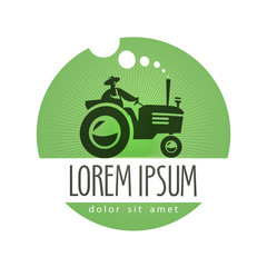 tractor vector logo design template. farm or natural product