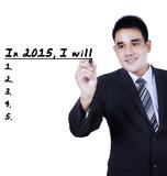 Businessman writes his plan in 2015