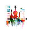 Colorful musical instruments design - 77289889