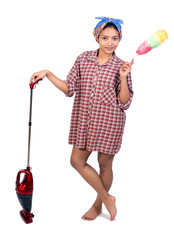 Woman with vacuum cleaner on a white background