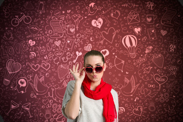 Funny woman over valentine's background