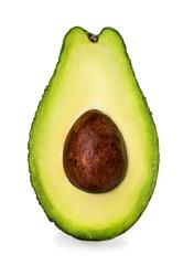 Half of avocado isolated on white