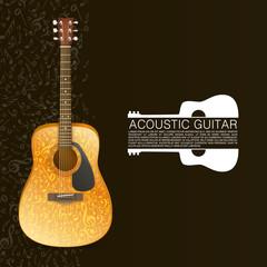Acoustic guitar standing under beam of light