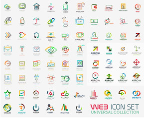 Mega collection of line design web logo icons