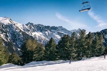 mountainous landscape with chair lift
