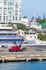 Red Crane on Puerto Rican Pier