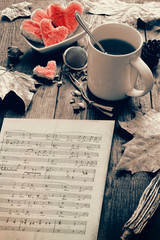 Breakfast with hearts and music