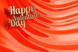 Gold Happy valentines day. Red swirl background.
