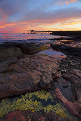 Sunrise from Bass Point with Gravel Loader pier in distance