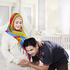 Islamic family waiting childbirth