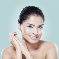Model with smooth skin after spa treatment