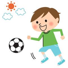 サッカーする男の子