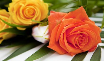 bouquet de rose orange et jaune