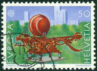 stamp printed in the Switzerland shows Scarabaeus