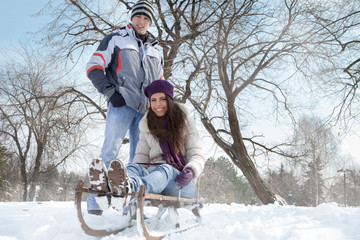couple having fun in wintertime