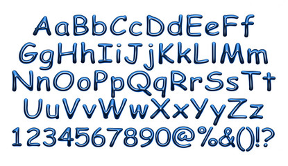 3D blue uppercase and lowercase letters, digits on isolated