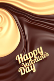 Happy valentines day. Chocolate swirl background.