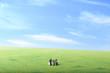 草原の中でパソコンで仕事をしている3人のビジネスマンのミニチュア
